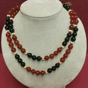 "Red and Black Onyx 36"" Necklace"